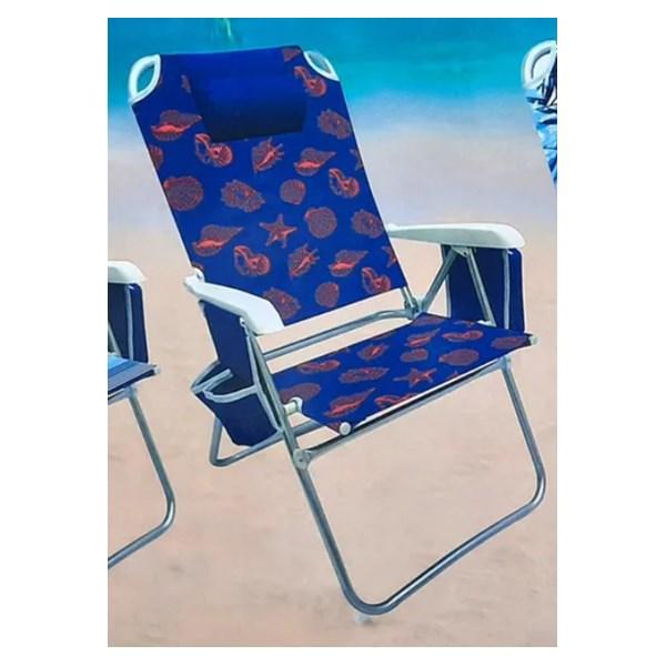 Cadeira de Praia, Capri com Bolsa Térmica e Porta Copo Duplo -Azul e Vermelho