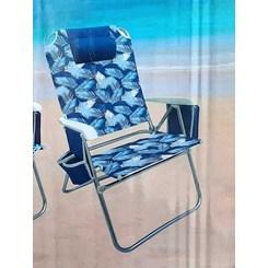 Cadeira de Praia, Capri com Bolsa Térmica e Porta Copo Duplo - Azul florada