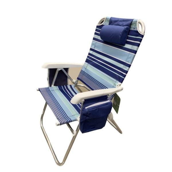 Cadeira de Praia, Capri com Bolsa Térmica e Porta Copo Duplo, Grande - Azul Listrada