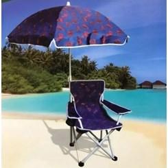 Cadeira De Praia Infantil, Com Guarda-Sol - Azul e Vermelho