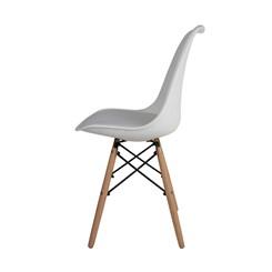 Cadeira Eames,  Pé de Madeira - Branca