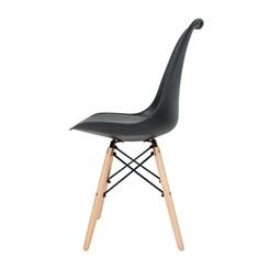 Cadeira Eames, Pé Madeira - Preta