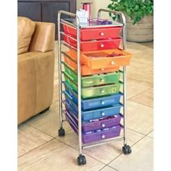 Carrinho Organizador, 10 Gavetas e Rodas - Colorido