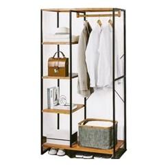Closet com Prateleiras em Bambu e Metal