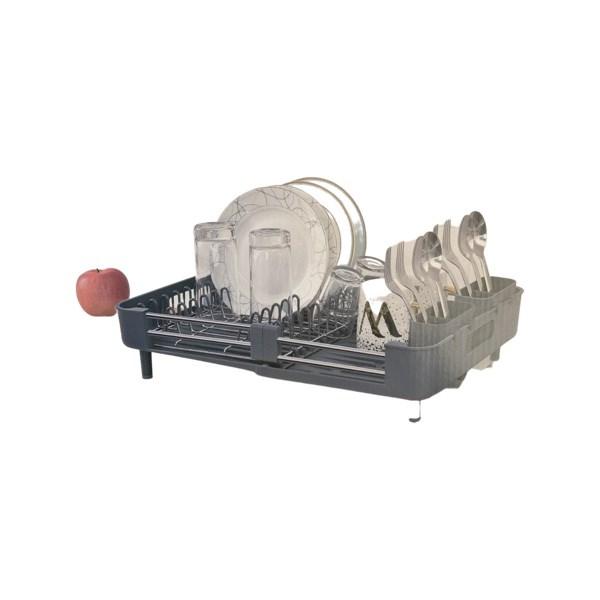 Escorredor de Pratos Extensível, com Porta Talheres - Cinza