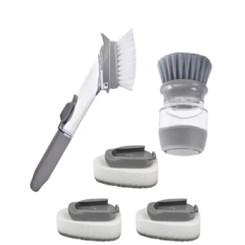 Escova Com Esponja, Dispenser Detergente 2 Em 1 Lavar Louça
