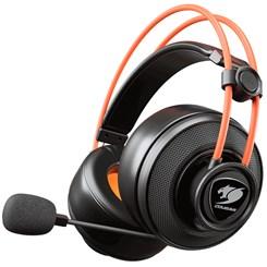 Headset Gamer Cougar Immersa Ti, Microfone Retrátil - Preto e Laranja