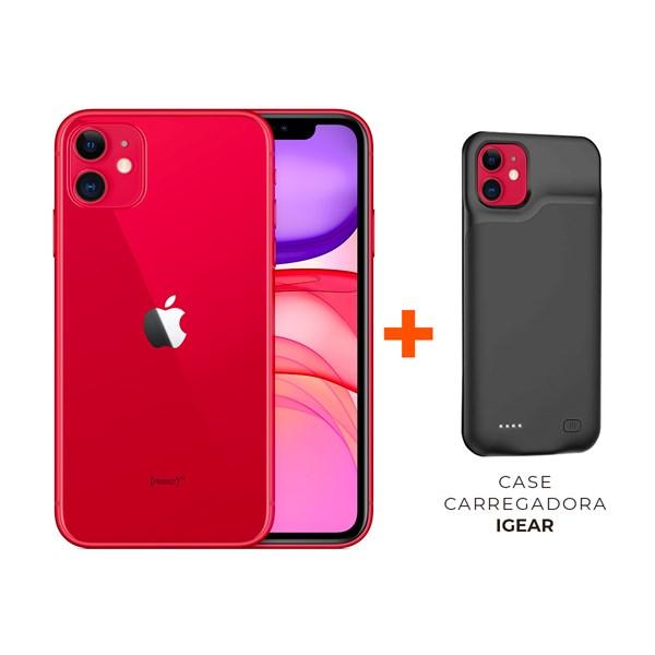 iPhone 11, Tela 6.1'', Dual SIM - Apple + Case Carregadora