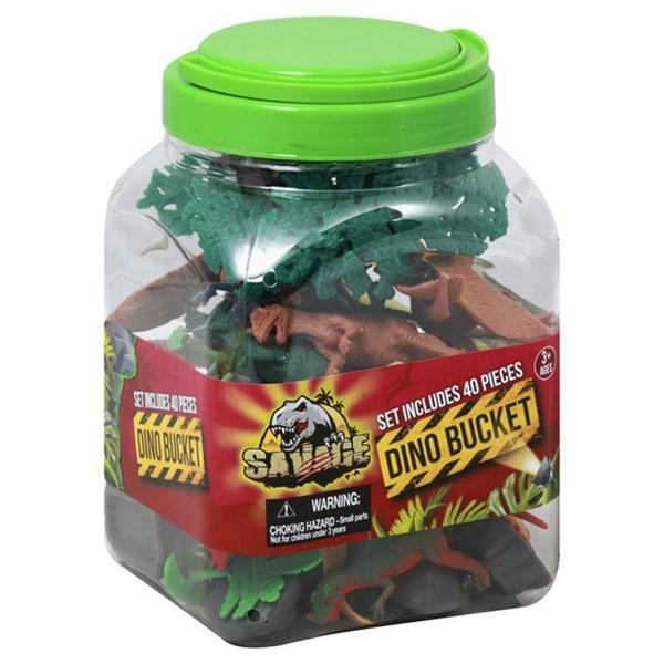 Kit Dinossauro Silicone, Dino Bucket, 40 peças