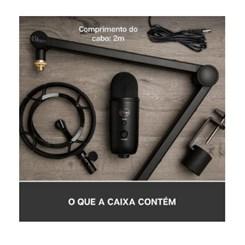 Microfone Logitech, USB com Suporte de Suspensão - Blue Yeticaster - Preto
