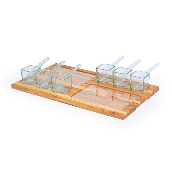 Petisqueira de Madeira Com Vidro, 15 peças
