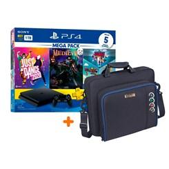 PlayStation 4 Slim 1TB v11 + MegaPack com 5 Jogos + Bolsa