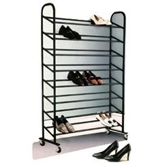 Sapateira em Aço Cromado, 40 pares de sapatos - Preta