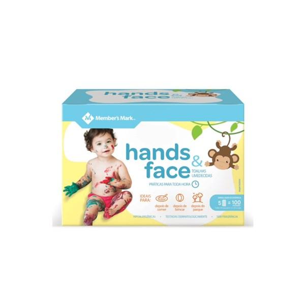 Toalhas Umedecidas Hands & Face, 5 Pacotes com 20 Unidades Cada Embalagem